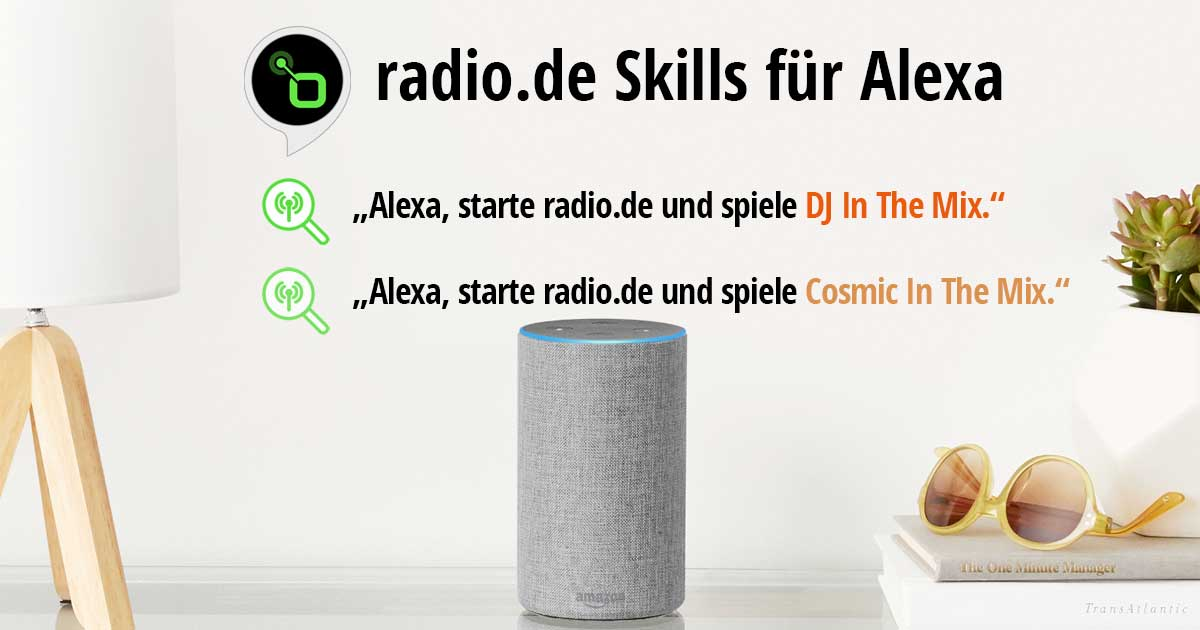 Höre TONEART Radio Dj in the Mix und Cosmic in the Mix mit den Alexa Skills von Radio.de